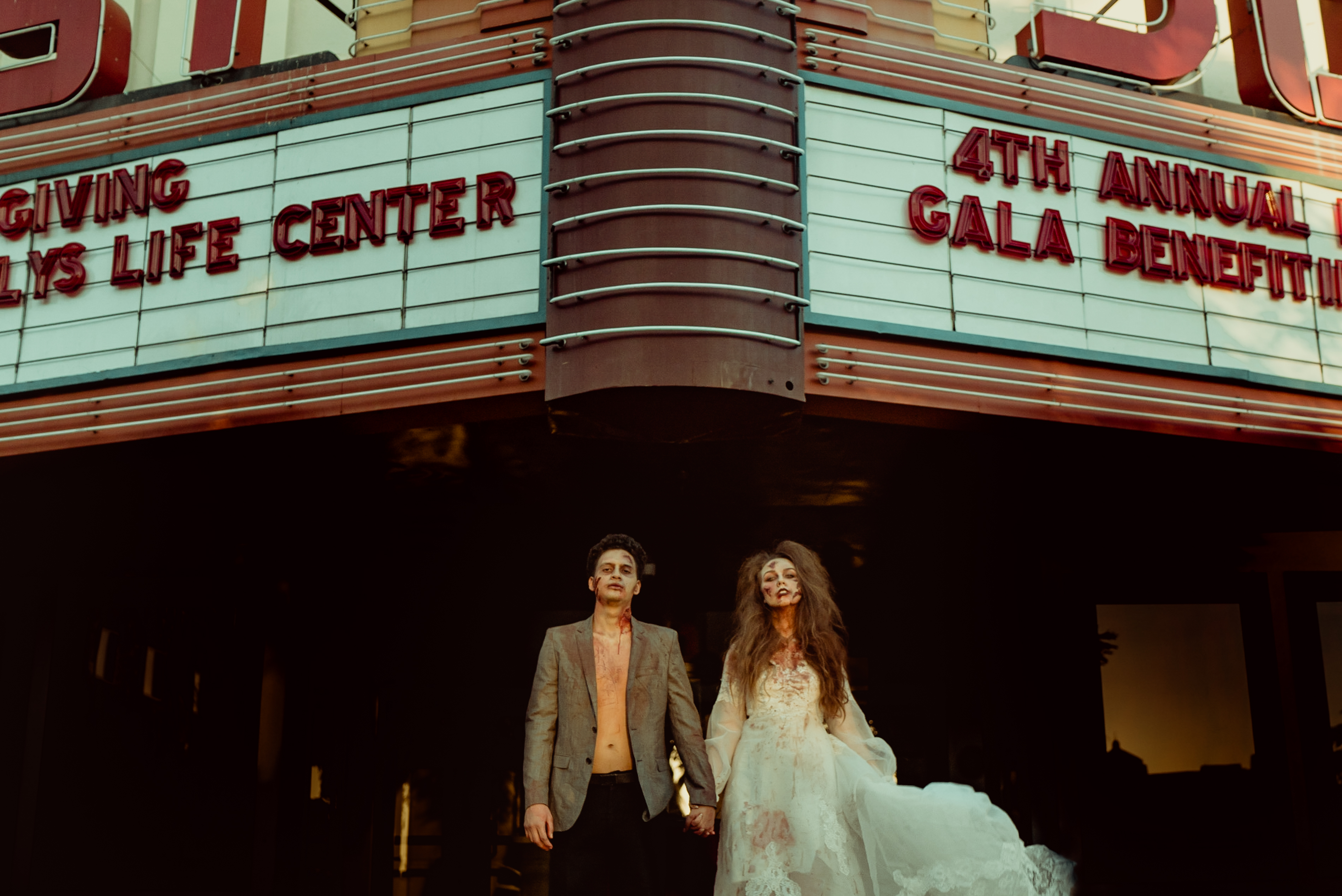 Halloween Bride and Groom Photos. Yost Theatre Wedding Photos.