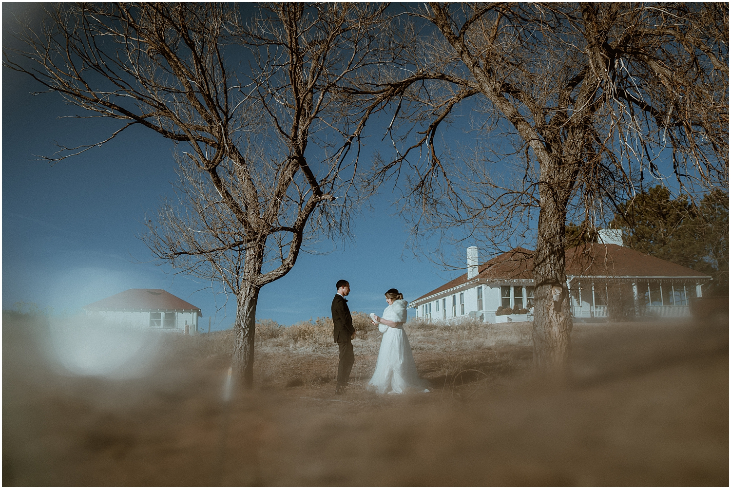 bride and groom manor house colorado