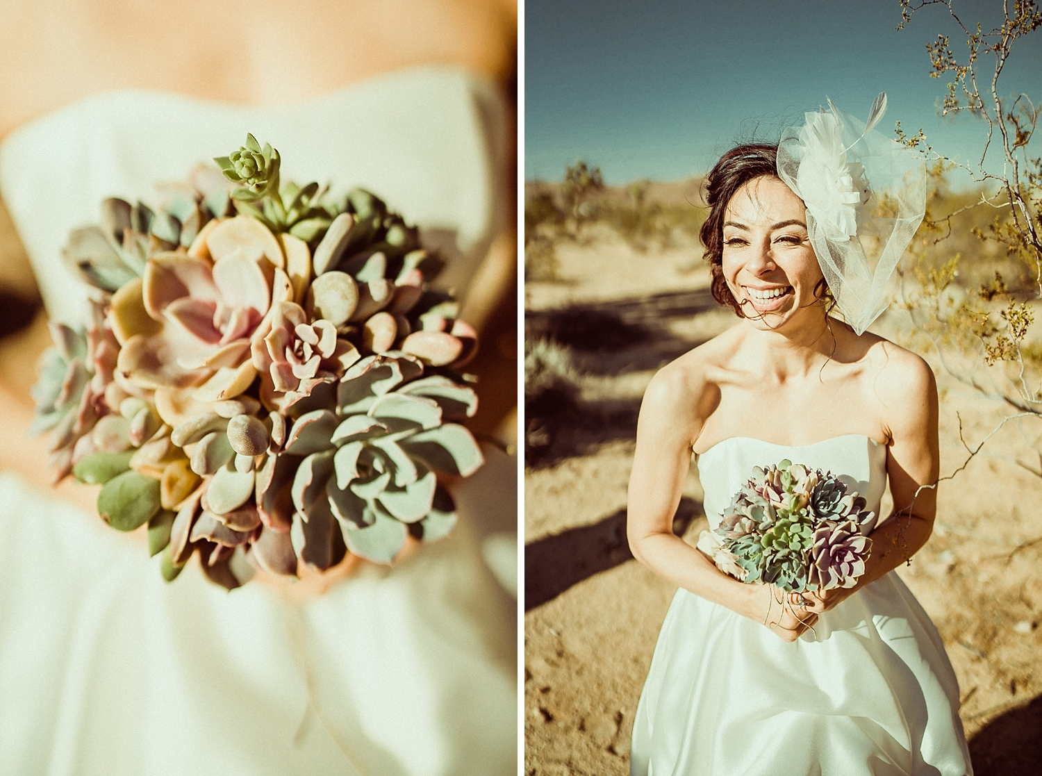 Joshua Tree Wedding Photos | Bird Cage Veil